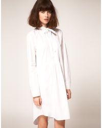 Peter Jensen | White Cotton Shirt Dress With Pintucks | Lyst