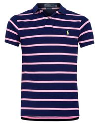 Polo Ralph Lauren | Blue Navy and Pink Stripe Polo Shirt for Men | Lyst