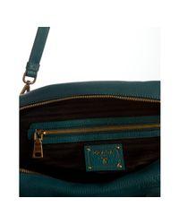 Prada   Blue Teal Pebbled Deerskin Convertible Bauletto Bag   Lyst