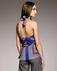 Derek Lam   Blue Tie-waist Halter Top   Lyst
