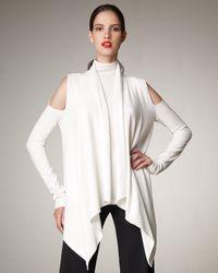 Donna Karan New York   White Cold-shoulder Draped Cardigan   Lyst