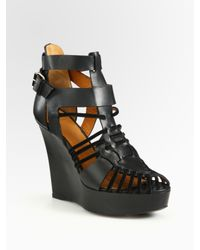 Givenchy | Black Corinne Leather and Suede Gladiator Wedge Sandals | Lyst