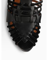 Givenchy - Black Corinne Leather and Suede Gladiator Wedge Sandals - Lyst