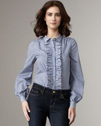 kate spade new york | Blue Tiff Ruffle-front Blouse | Lyst