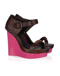 Bottega Veneta | Brown Contrast-wedge Leather Sandals | Lyst