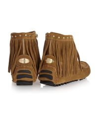 Jimmy Choo   Brown Zampa Suede Moccasin Ankle Boots   Lyst