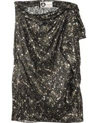 Lanvin | Metallic Ruffled Sequin-print Silk-satin Top | Lyst