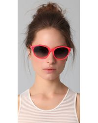 Matthew Williamson - Pink Neon Pointed Oval Sunglasses - Lyst