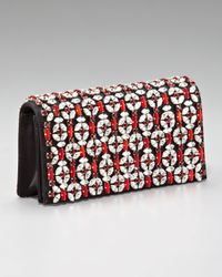 Prada | Black Raso Jeweled Clutch | Lyst