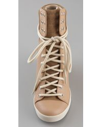 See By Chloé - Natural Grey Wedge Lace Up Trainer - Lyst