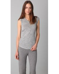 T By Alexander Wang | Gray Marled Drape Top | Lyst