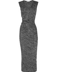 T By Alexander Wang | Gray Drape Back Marled Knit Dress | Lyst