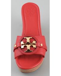 Tory Burch - Red Patti 3 Mid Wedge Slide - Lyst
