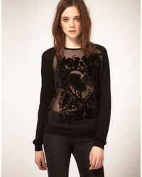 ASOS Collection | Black Asos Oversize Top with Flocked Bird | Lyst