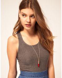 ASOS | Metallic Lipstick Pendant Necklace | Lyst
