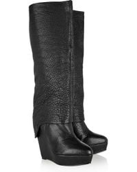 Elizabeth and James | Black Scuff Textured-leather Knee Boots | Lyst