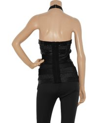 Hervé Léger - Black Embellished Halterneck Bandage Top - Lyst