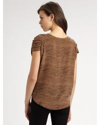 Joie | Brown Liv Striped Silk Short-sleeve Blouse | Lyst