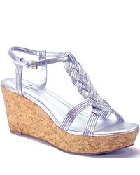 kate spade new york | Metallic Becca - Silver Leather Cork Wedge Sandal | Lyst