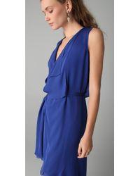 Max Azria - Blue Hi Low Drape Front Dress - Lyst
