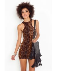 Nasty Gal - Multicolor Leopard Racer Dress - Lyst