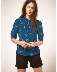 NW3 by Hobbs | Blue Nw3 Cat Print Shirt In Silk | Lyst