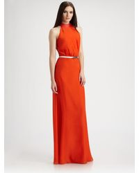 Raoul | Orange Leather-trim Cut-in Gown | Lyst