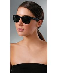 Ray-Ban | Black Folding Wayfarer Sunglasses | Lyst
