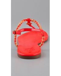 Tory Burch - Red Aine Flat Sandals - Lyst