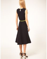 ASOS Collection - Natural Midi Dress with Belt and Pleat Detail - Lyst