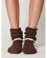 Free People   Brown Double Ruffle Slouch Sock   Lyst