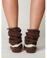 Free People - Brown Double Ruffle Slouch Sock - Lyst