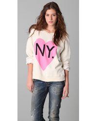 Wildfox | White Original Gidget Bi-coastal Girl Sweatshirt | Lyst