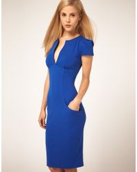ASOS Collection | Blue Ponti Pencil Dress with Pockets | Lyst