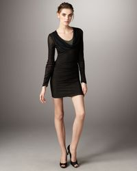 Catherine Malandrino - Black Drape-neck Long-sleeve Dress - Lyst