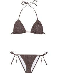 Chloé | Brown Broderie Anglaise Laser-cut Triangle Bikini | Lyst