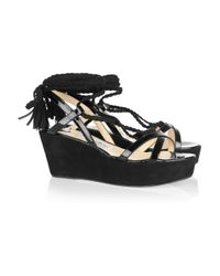 Jimmy Choo   Black Poppy Suede and Patent-leather Wedge Sandals   Lyst