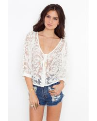 Nasty Gal - White Juliet Lace Blouse - Lyst