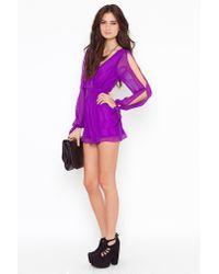 Nasty Gal | Purple Violet Wrap Romper | Lyst