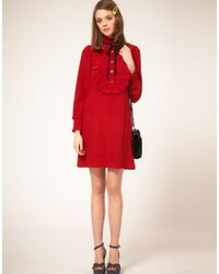 Sonia by Sonia Rykiel - Red Silk Pie Crust Collar Dress - Lyst
