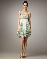 Sue Wong | Green Leaf-embellished Cocktail Dress | Lyst