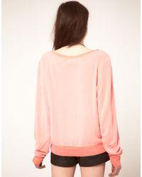 Wildfox - Pink Laurel Varsity Top - Lyst
