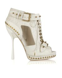 Alexander McQueen | White Stud-embellished Python and Leather Ankle Boots | Lyst