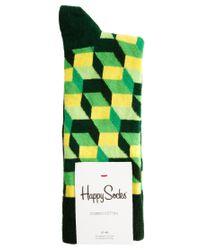 Happy Socks - Green Happy Socks Cube Pattern Socks for Men - Lyst
