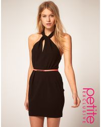 ASOS Collection | Black Asos Petite Exclusive Dress with Twist Front Neck and Neon Belt | Lyst