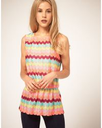 ASOS Collection | Multicolor Bright Zig Zag Print Top | Lyst