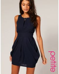 ASOS Collection | Blue Asos Petite Tulip Dress with Tie Back | Lyst