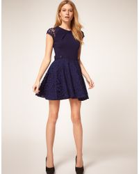ASOS Collection - Yellow Asos Petite Exclusive Skater Dress with Lace Skirt and Short Sleeves - Lyst