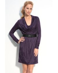 Donna Ricco | Purple Iridescent Jersey Cowl Neck Dress | Lyst