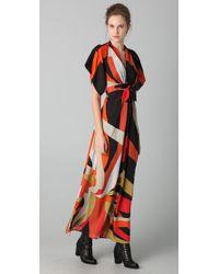 Issa | Black Printed Long Kimono Dress | Lyst